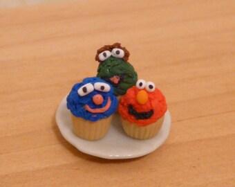 Miniature Dollhouse Sesame Street Character Cupcakes