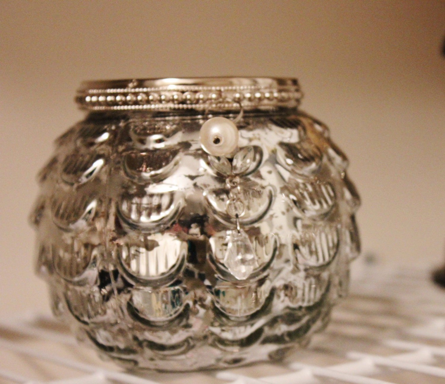 Set Of 10 Mercury Glass Silver Glass Candle Holders Round