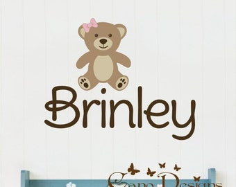 Personalized Name With Teddy bear, Custom Vinyl wall decals stickers, nursery, kids & teens room, removable decals stickers