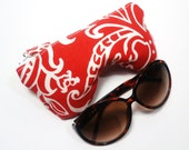 Curves Eyeglasses Case, Sunglasses Case, Red and White Floral