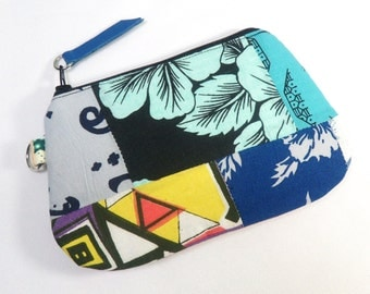 Patchwork Zipper Pouch. Patchwork Small Clutch. Patchwork Purse.Leather Pull - Pouch Style