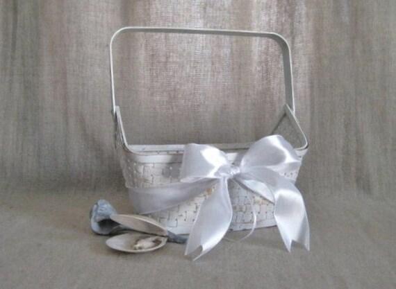 Beach Wedding Flower Girl Basket in White / Simple Shabby White Basket for Wedding or Reception Decor / White Easter Basket