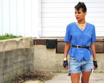 Vintage 1980s Blue Polka DOT Secretary Blouse Top