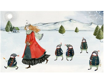 Icelandic saga illustrated print Maiden with elves in Iceland 8x11 print