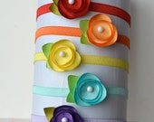 Petite Satin Flower Headband and Clip- Perfect for Babies and Newborns- Choice of Colors- Pink, Purple, White, Yellow, Aqua, more