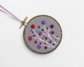 "Purple, Red and Gray Hand-Embroidered Dot Flowers Ornament, Embroidery Hoop Art in 3"" Hoop For the Home"