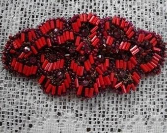 Antique Handmade Red Beaded Applique