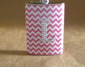 Personalized Bridesmaids Gift Pink and White Chevron or ANY Print with ANY Rhinestone Initial 8 oz. Stainless Steel Gift Flask KR2D 6955