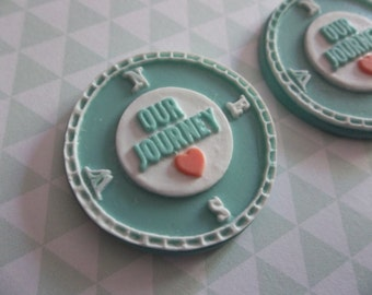 Large Round Our Journey Text Green, Pink & White Cabochon 25mm Cameo - Qty 2