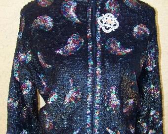 Vintage 1960s Sequin Covered Cardigan Sz 42 LG