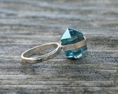Aqua Aura Quartz Crystal Point Banded Sterling Silver Ring - Your Size