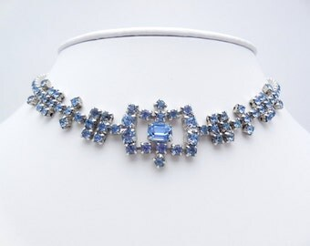 Vintage Rhinestone Choker Necklace Blue Rhinestones