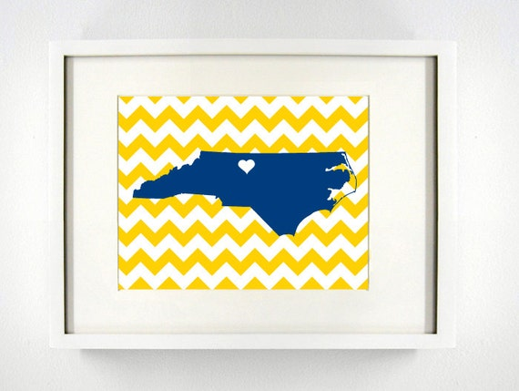 Greensboro, North Carolina State Giclée Map Art Print - 8x10 - UNC ...