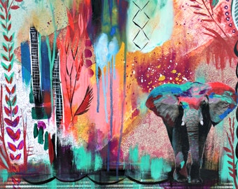 The bright & the mighty - 11x14 print from original mixed media Elephant painting