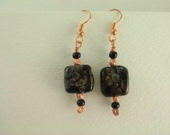 Raku and Copper Earrings