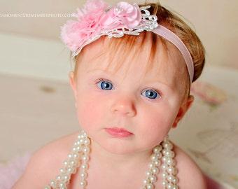 Pink Newborn headband, baby headband, girl headband, newborn photography prop, vintage headband
