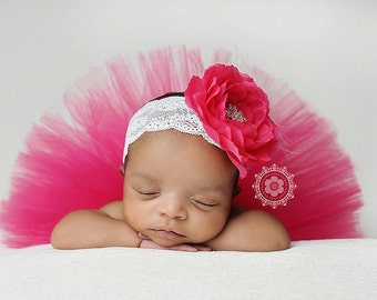 Hot Pink Fuschia newborn tutu with vintage style headband....newborn tutu, baby tutu, birthday tutu, newborn photography prop