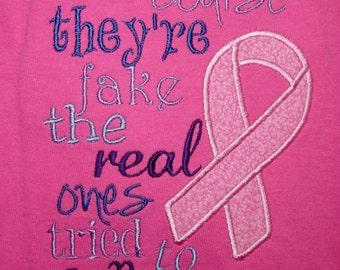 Breast Cancer sarcasm  appliqued t-shirt