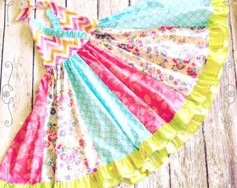 Pink French Halter  Twirl Dress