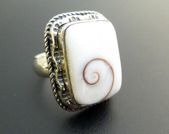 Handmade Sterling Silver Rectangle Shell Ring - Shiva Eye Ring - Rectangle White Shell Ring - Custom Made Ring