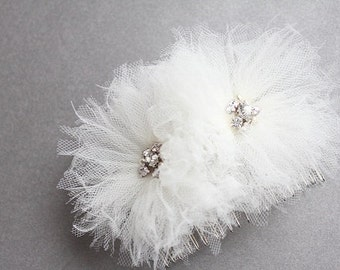 Wedding tulle flowers, bridal hair comb with rhinestones