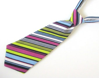 Baby / Toddler Tie - navy / sky blue / orchid purple / lime green / white stripe - 2 sizes: 0-2 years & 2-4 years