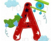 set of airplane applique letters machine embroidery design