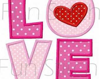 Valentine love applique machine embroidery design