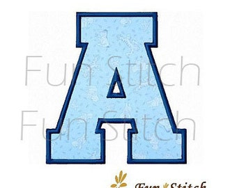 26 sports varsity applique machine embroidery font letters