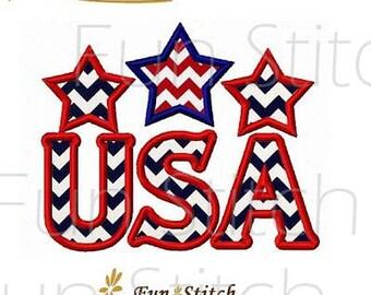 USA July 4th applique machine embroidery design