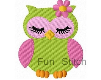 girl owl machine embroidery design instant download