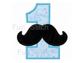 Mustache number one applique machine embroidery design