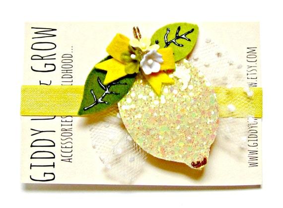 Glitter Baby Headband - Lemon Headband with Swiss Dot Tulle, giddyupandgrow