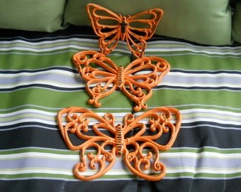 Vintage Butterfly Wall Hanging Orange Black