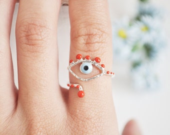evil eye ring-sterling silver-free shipping
