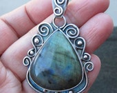 Native American Inspired Sterling Silver and Labradorite Pendant