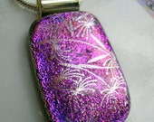 Pendant Dichroic Fused Glass Orchid Silver Shimmer Iridescent Glass Pendant Purple Necklace Dichroic Jewelry Purple Jewellry Orchid Pendant