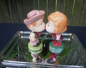 Vintage Cowboy and Cowgirl Kissing Bobble Head Dolls