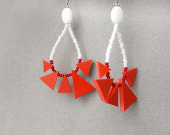 red triangle earrings , tribal geometric hoops , contemporary jewelry