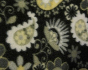 Paisleys and Flowers on Black with Gray Handmade Blanket - Ready to Ship Now