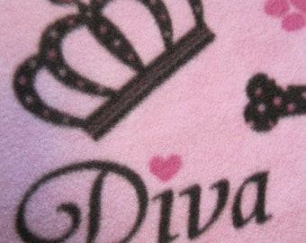 Diva Dog Blanket - Paw Prints on Pink with Maroon - Ready to Ship Now