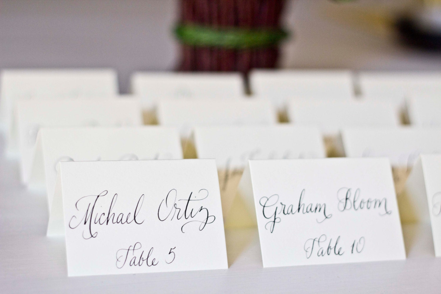 Fancy wedding name cards place cards white or ivory tented for Place card for wedding