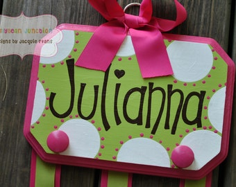 Bow Holder - WHIMSICAL DOTTIE - Large - Handpainted and Personalized Hair Bow Holder