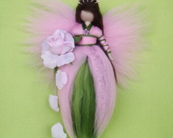 Needle Felted ROSE FAIRY Doll  Angel Fairies Wool Soft Sculpture Waldorf Inspired
