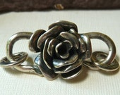 Large Sterling Silver Rose Flower S Clasp  -  40mm  -  Beautiful Strong Sturdy Detailed Focal Closure