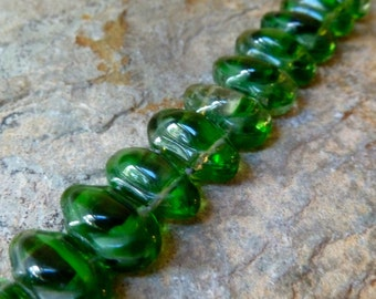 Vintage West German 2 Strand Green Glass Beads - 2 Strand Oval Beads, 7x12mm, Qty 5 pcs