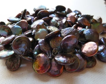 Purple Peacock Briolette Coin Pearls - Baroque Top Drilled left to right - 15-17mm - High Luster - Thick Nacre - Gorgeous