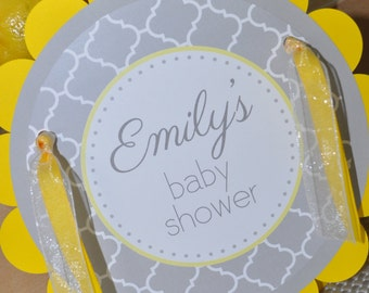 Baby Shower Door Sign - Gray and Yellow - Boy or Girl Baby Shower Decorations - Gender Neutral Shower