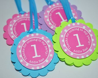 1st Birthday Favor Tags, Thank You Tag, Girls Birthday Party Decorations, Party Favors - Pink, Teal, Purple, Lime Green Polkadot - Set of 12