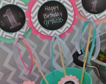 1st Birthday Centerpiece Sticks - Girls 1st Birthday Decorations - Chalkboard with Gray Chevron - Pink & Mint Green - Set of 3